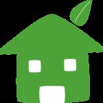 logo maison verte avec feuille d'arbre